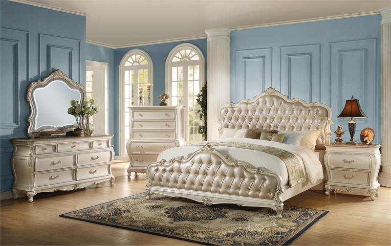 Chantelle Pearl White Bedroom Set Collection 23540