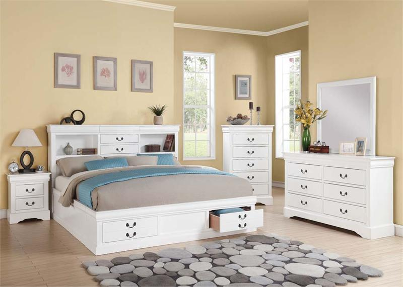 Louis philippe iii white bedroom set with storage - Louis philippe bedroom collection ...