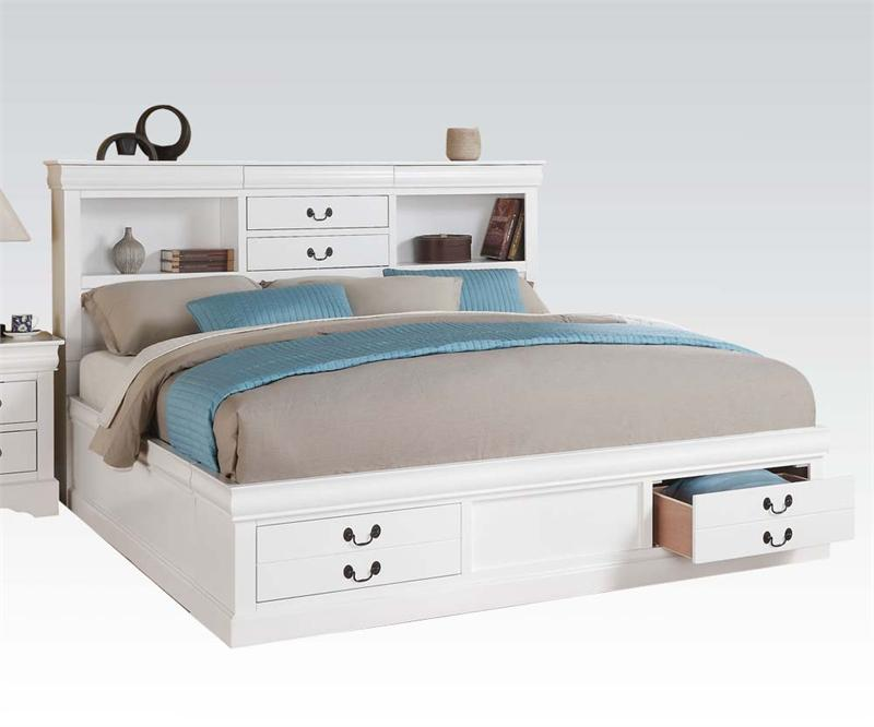 Louis Philippe III White Bedroom Set with Storage