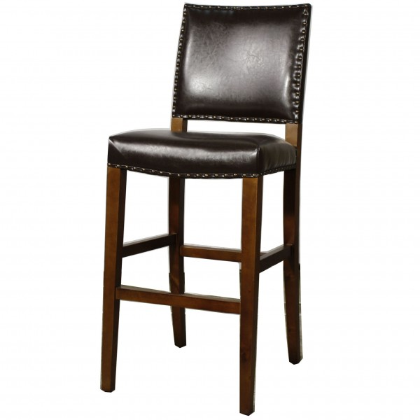 Rowan Brown Leather Counter Height Stool  sc 1 st  Rom Decor & Rowan Leather Bar Height Stool islam-shia.org