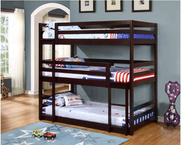 400302 Coaster Triple Twin Bunk Bed