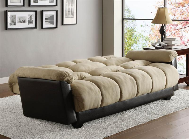 Click Clack Beige Futon Sofa Piper Collection Style 5903ngs Open