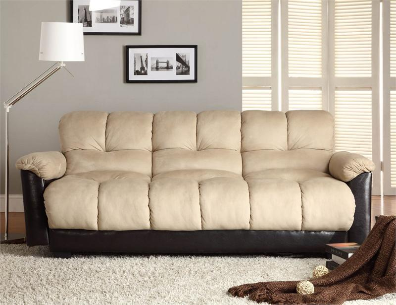 Click Clack Beige Futon Sofa Piper Collection Style 5903ngs