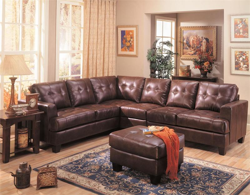Dark Brown Leather Sectional Armless Chair and Ottoman - Samuel Collection : dark leather sectional - Sectionals, Sofas & Couches