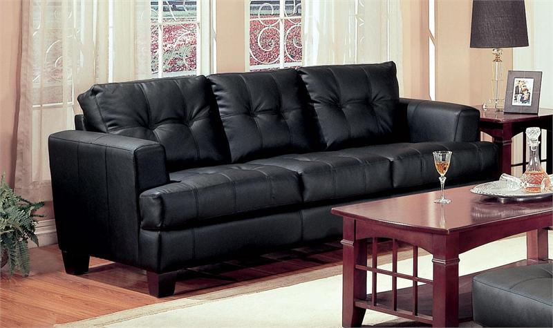 Black Leather Sofa Set Samuel