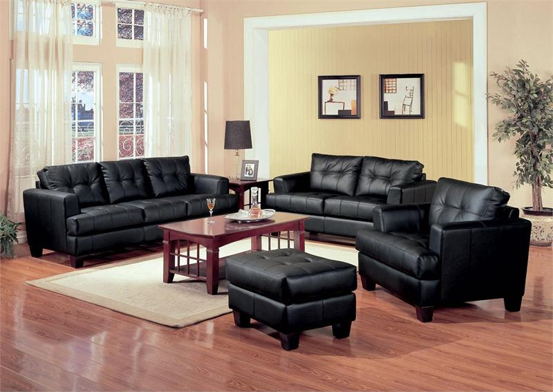 Black Leather Sofa Set Samuel Collection Item 501681