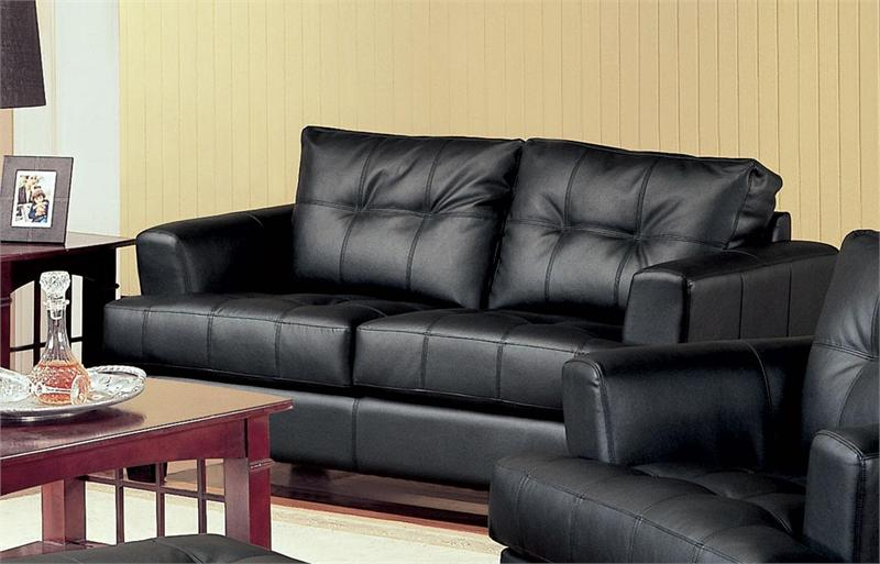 Black Leather Loveseat   Samuel Collection