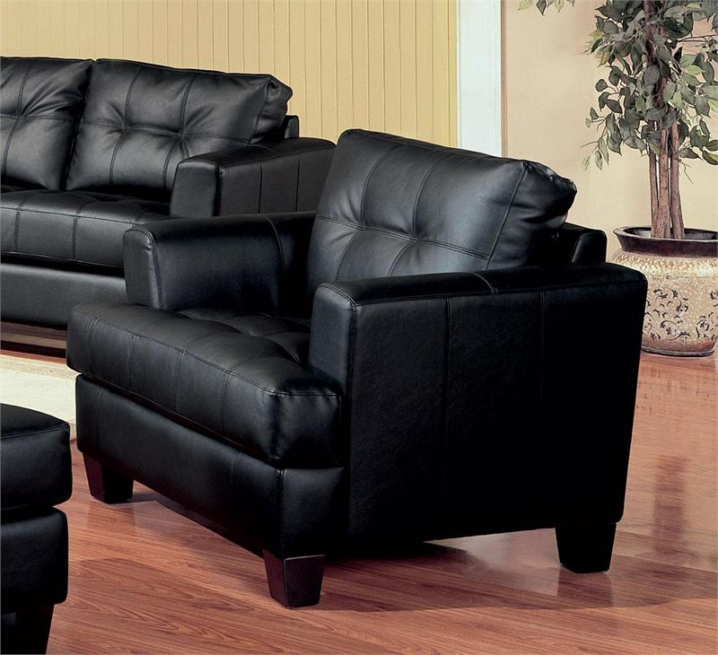 Black Leather Chair Samuel Collection