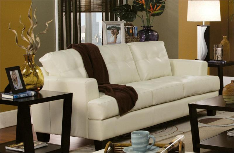 Cream Leather Sofa Set Samuel Collection Item 501691