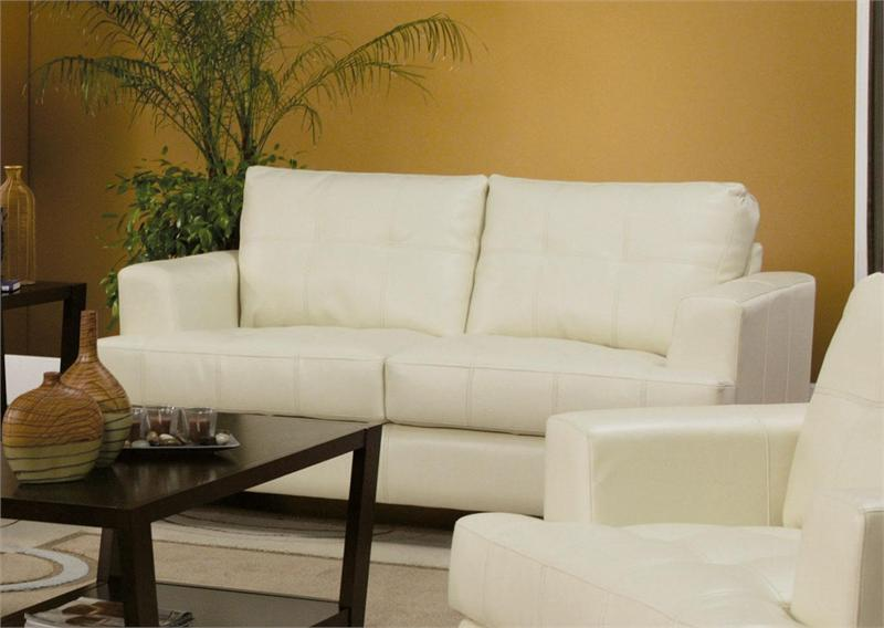 Cream Leather Loveseat Samuel Collection