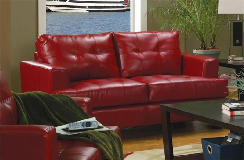 Red Leather Living Room Set Samuel Collection Item 501831