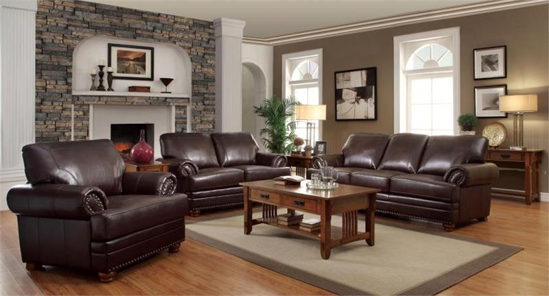 504411 coaster traditional colton brown sofa set collection for Coffee tables port elizabeth