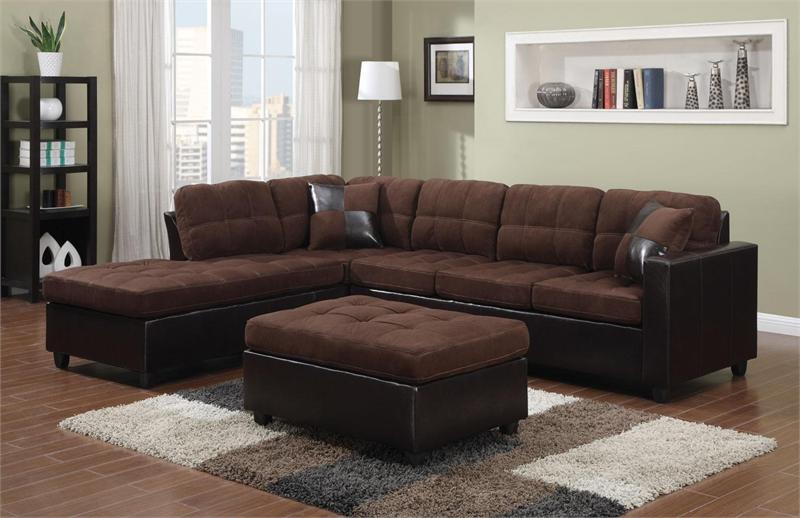 Chocolate Microfiber Reversible Sectional Mallory Collection
