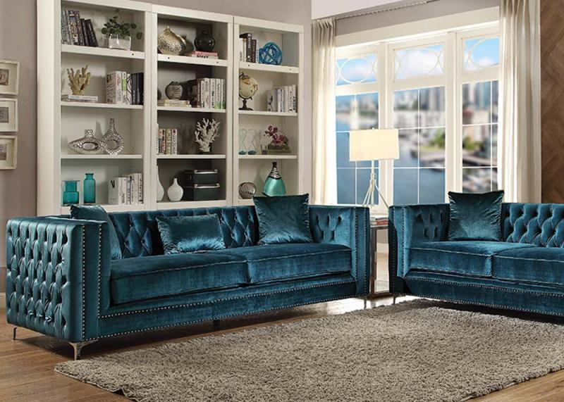 52790 Acme Gillian Dark Teal Velvet Sofa Set Collection