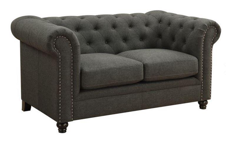 Loveseat   Roy Grey Linen Sofa Collection