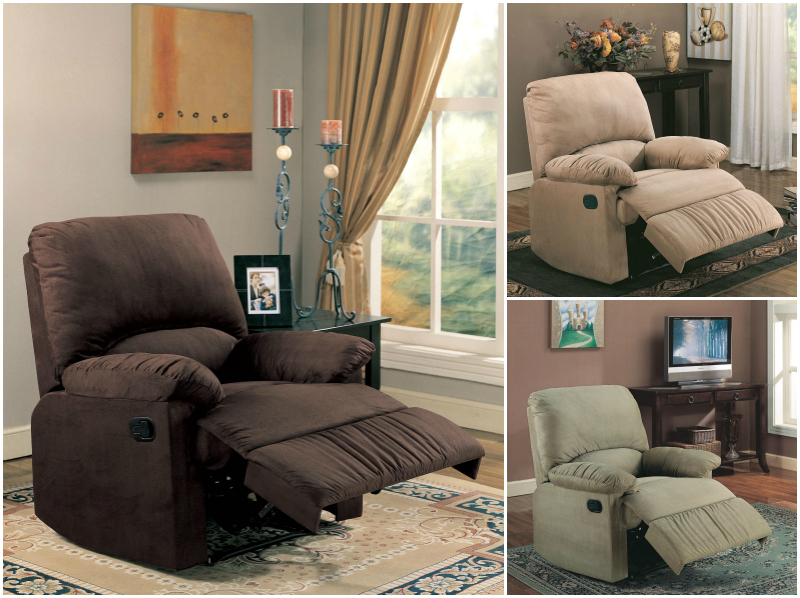 microfiber glider recliner chair in light brown chocolate and sage
