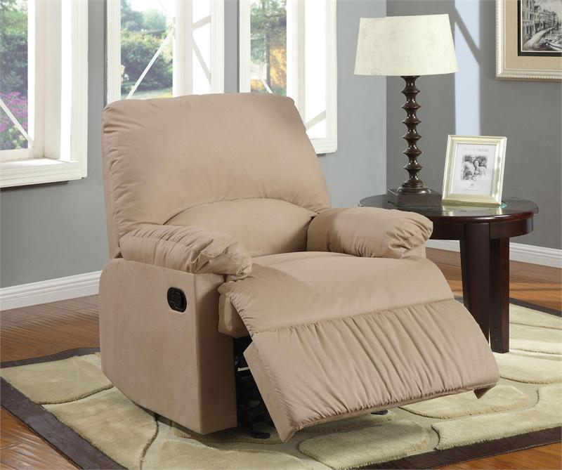 light brown microfiber glider recliner chair item 600264g by coaster