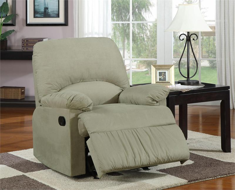 microfiber glider recliner chair sage microfiber glider recliner chair item 600267g by coaster