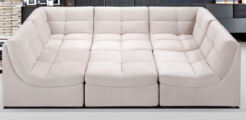 Beige Upholstered Fabric Modular Sectional Sofa Beige Upholstered Fabric Modular Sectional Sofa : sectional modular - Sectionals, Sofas & Couches