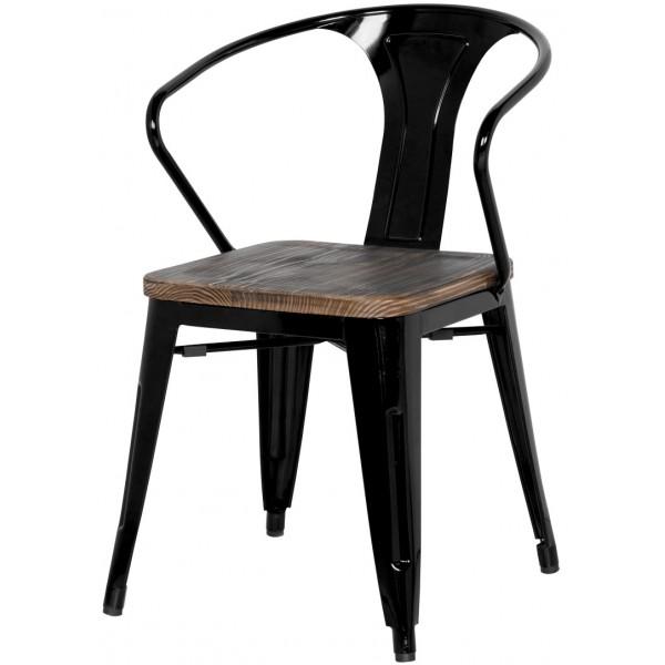 Metropolis Metal Arm Chair Black Color Wood Seat Item 938730 B