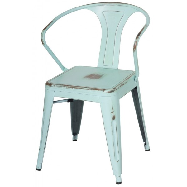... Metropolis Metal Arm Chair Distress Blue Finish Item 938731 DBL