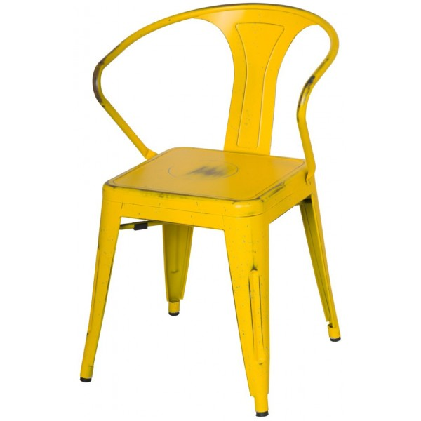 ... Metropolis Metal Arm Chair Distress Yellow Finish Item 938731 DY