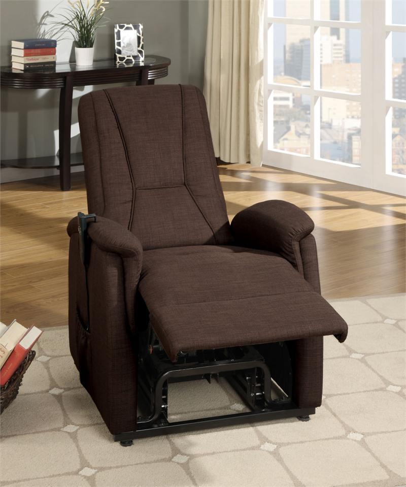 dark brown linen power lift chair glenson collection 9644db1lt