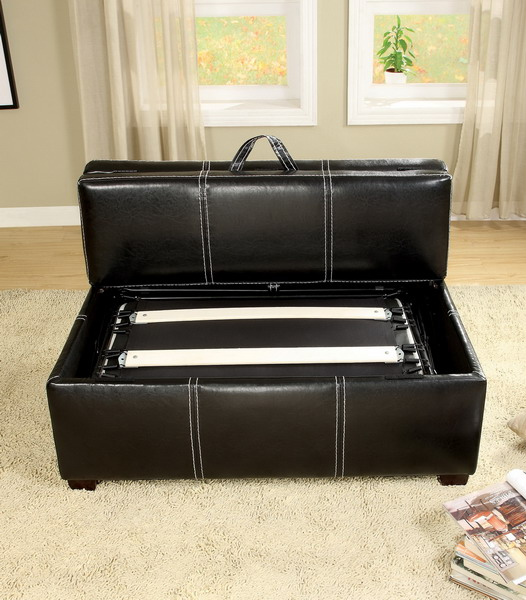 Ottoman In Brown Or Black With Pull Out Bed