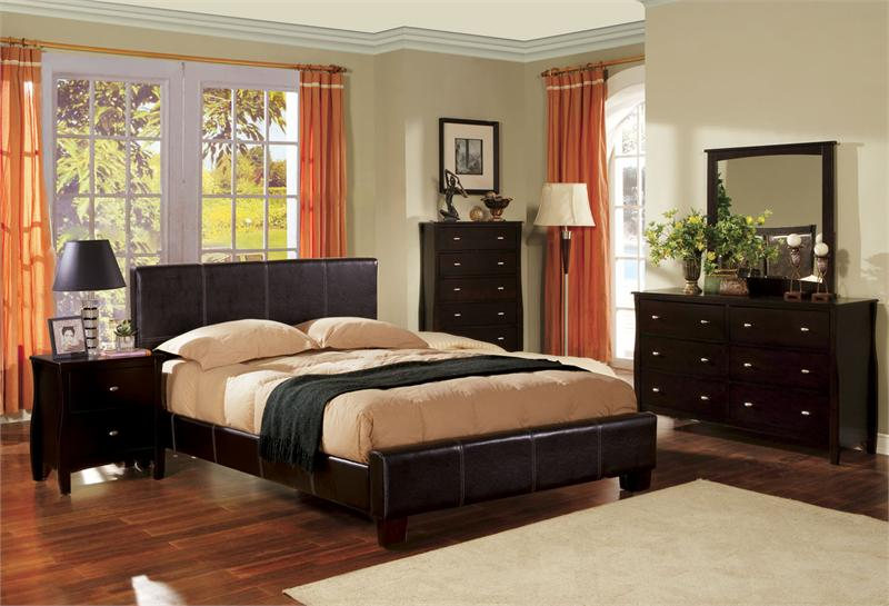 leather bedroom sets.  Uptown Espresso Platform Leather Bedroom Set