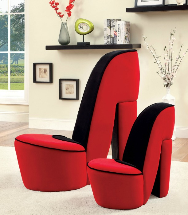 high heel design accent chair in red