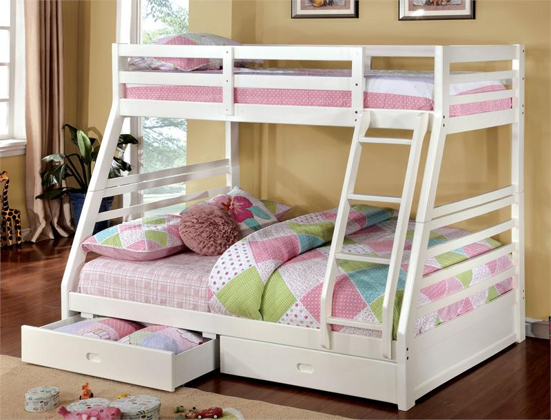 California Iii Twin Full Bunk Bed With 2 Drawers Cm Bk588wh