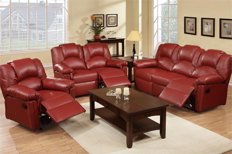 Burgundy Recliner Sofa Set Style F6678