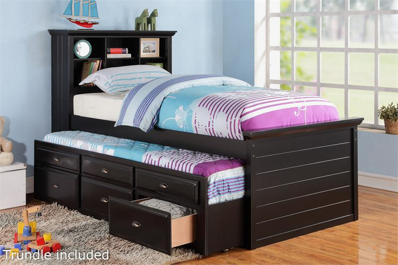 black twin bed with bookcase headboard and trundle with storage item f9219