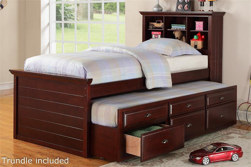 Cherry Twin Bed With Bookcase Headboard And Trundle Storage Item F92