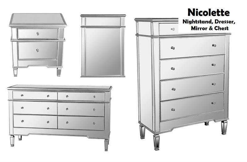 Mirrored Nightstand Dresser Chest