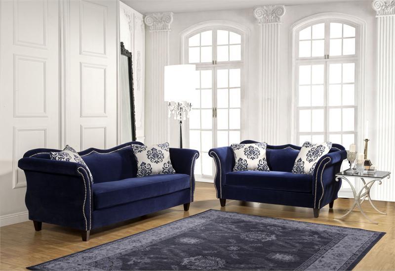 Sm2231 Zaffiro Sofa Set Blue Furniture Of America