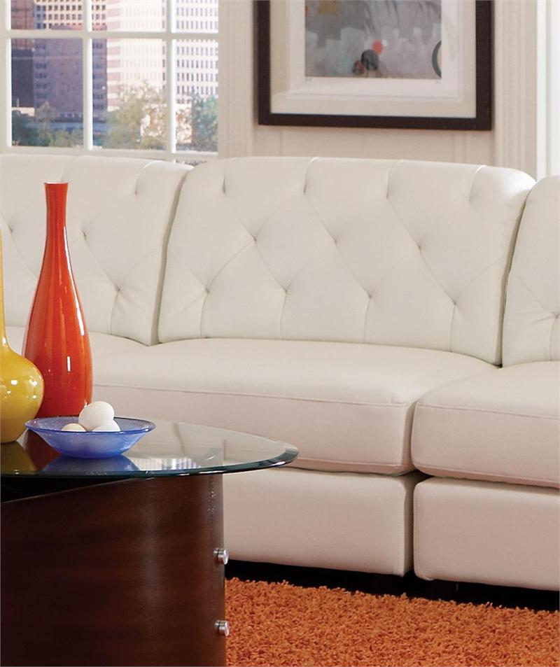 White Leather Modular Sectional Rosario Collection Tufted Armless Chair