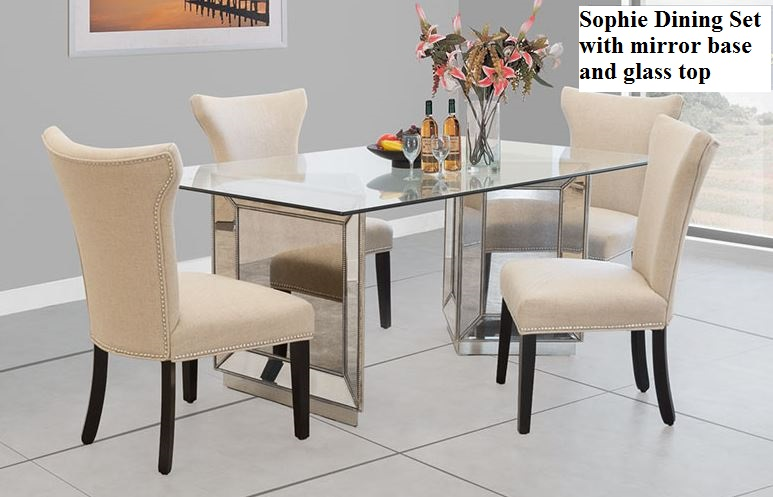 Sophie Mirror Dining Set Rh Romdecor Com Silver Mirrored Table Sophia