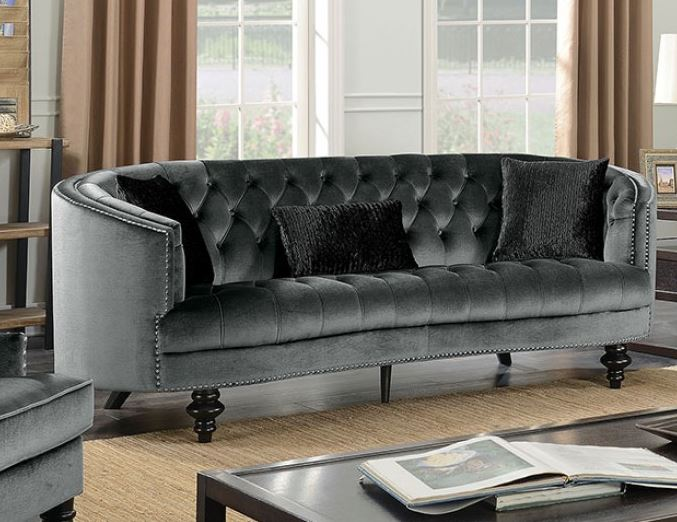 Manuela Dark Gray Sofa Set Collection CM6145