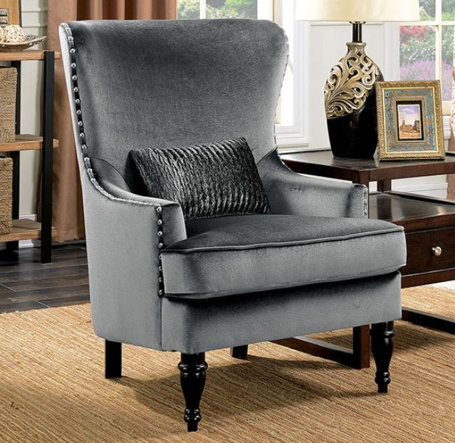 Chair   Manuela Dark Gray Sofa Set Collection CM6145