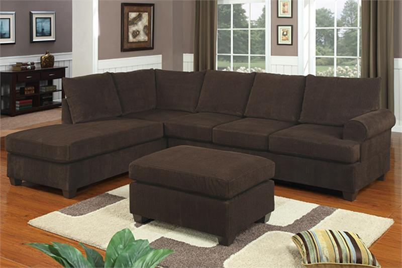 Reversible Chocolate Corduroy Sectional Poundex F7135