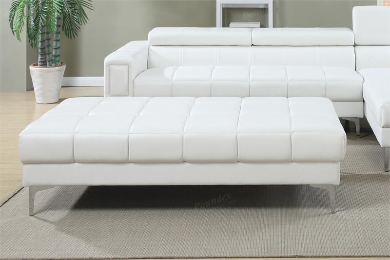 F7364 Poundex White 2 Piece Sectional Sofa