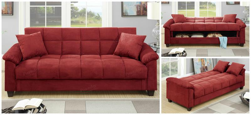 F7890 Poundex Red Microfiber Adjustable Sofa