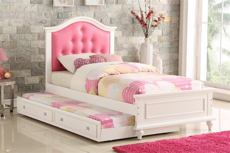 twin bed with trundle poundex f9377. Black Bedroom Furniture Sets. Home Design Ideas