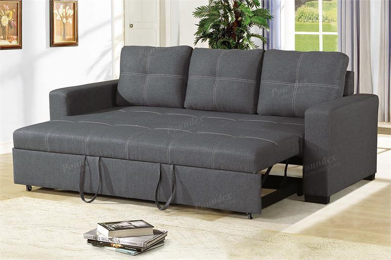 Blue Grey Convertible Sofa Poundex F6532