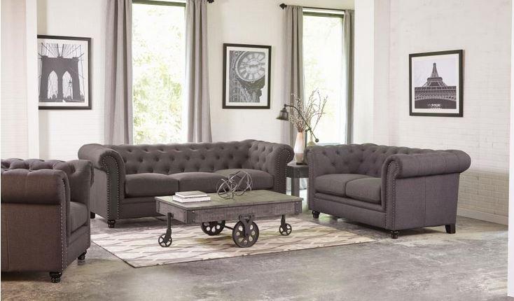 Roy Grey Linen Sofa Collection ...