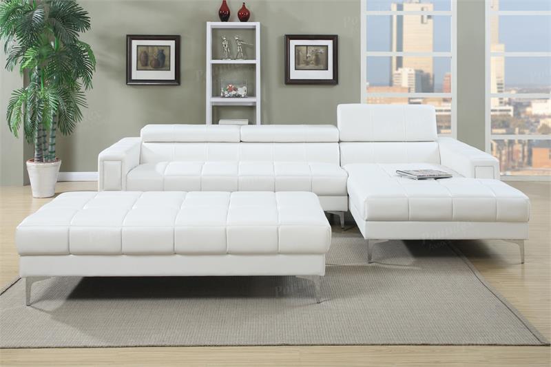 F7364 Poundex White 2 Piece Sectional Sofa