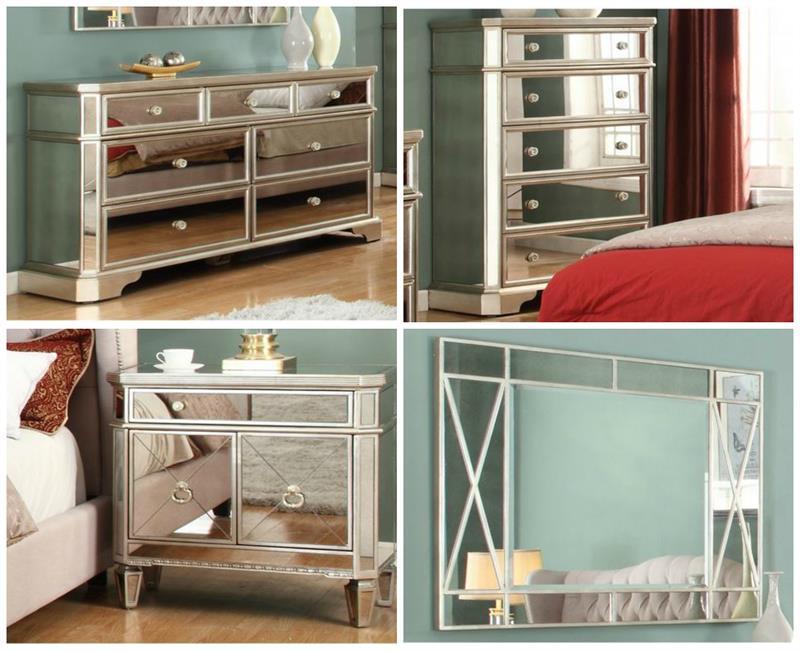 Mirrored Nightstand Dresser Chest T1830