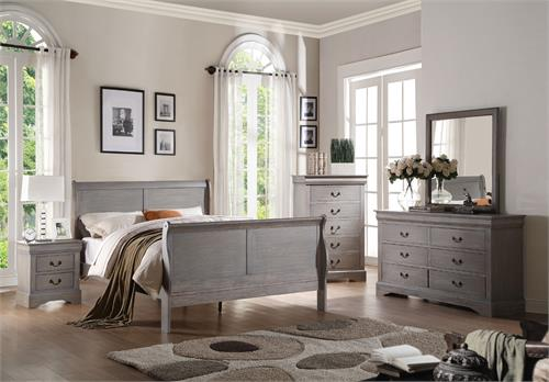 25500 Acme Louis Philippe III Antique Grey Bedroom Set
