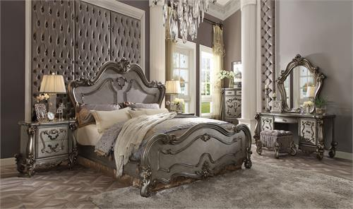 Versailles Collection Curved Antique Platinum Finish Bedroom Set